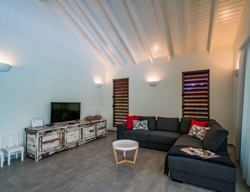 Woonkamer met loungebank en smart tv.